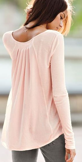 Peach flowy top and gray jeans