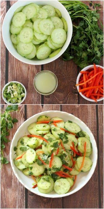Super Easy Cucumber and Cilantro Salad.   Foodness Gracious