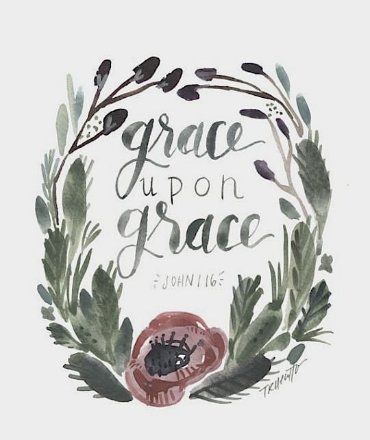 """Grasping the true meaning of grace: """"Grace HEAPED upon Grace.""""- John 1:16  """"Give away love and grace like you're made of the stuff."""" -Bob Goff.  Be consistent in reading the Word of God and remain abiding in Christ.  Jesus Christ is the Source of grace, therefore, remain attached to the Source.  A person is not able to pour out grace unless grace is being poured in."""