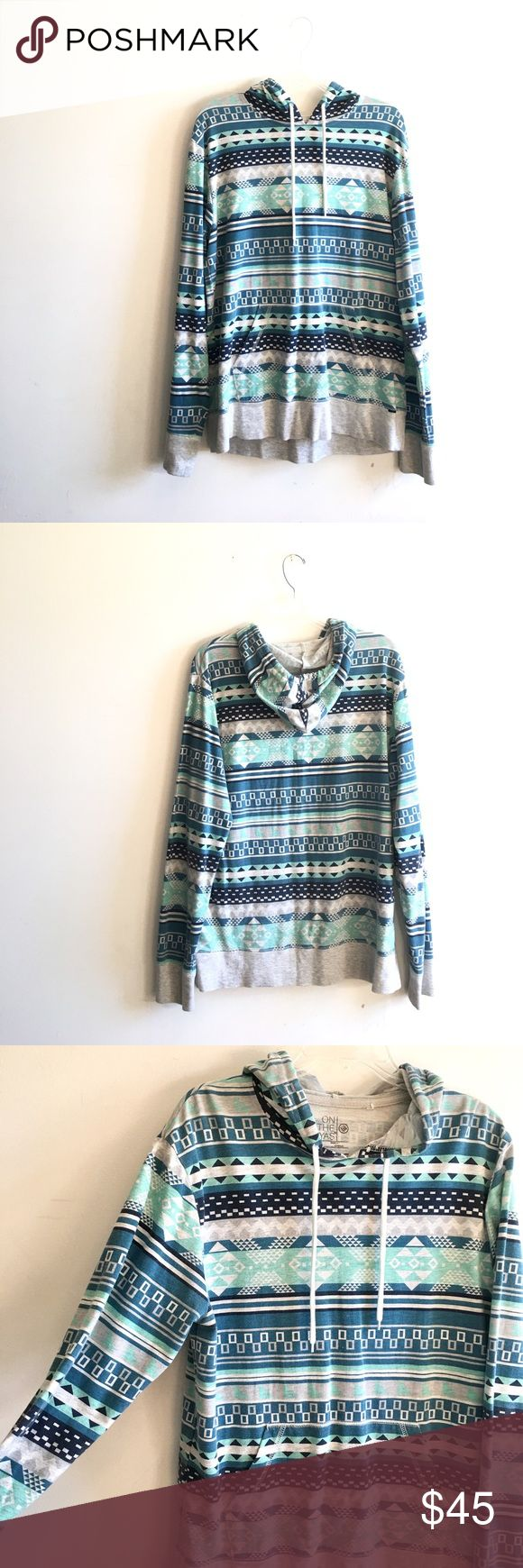 Aztec Thin Hoodie Blue colored bohemian hoodie. Only worn a couple times & in great condition! Could also fit a size medium on the byas Jackets & Coats Lightweight & Shirt Jackets
