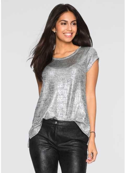 Glitzer-Shirt, BODYFLIRT, grau/silber meliert