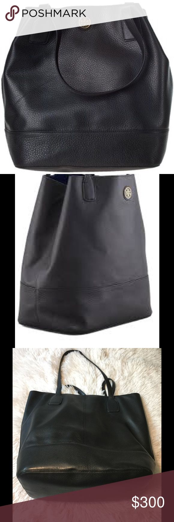 """🌹Tory Burch Michelle Leather Tote Bag, Black 🌹 🌹Sold out Tory Burch debuts the Michelle tote with a clean profile, roomy bucket body, and enduring leather construction to suit all your weekend occasions. Classic pebbled leather. Flat shoulder straps with 8 1/2"""" drop. Small Tory Burch double-T logo at top center. Open top. Roomy, bucket-like body holds all the essentials. Easy-to-clean PVC lining. Inside, buckled strap inverts sides to create trapezoidal shape. 14""""H x 12""""W x 9""""D; weighs…"""