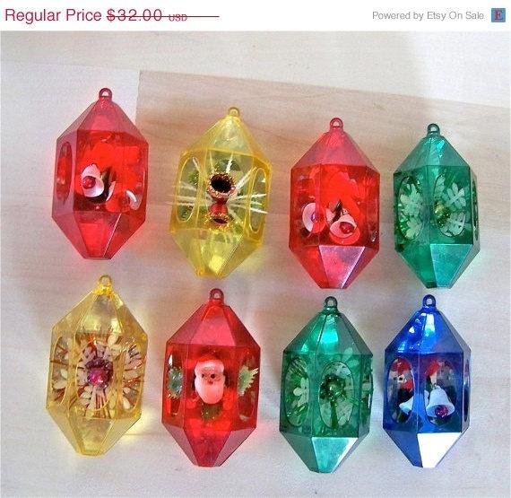 Vintage Plastic Diorama Christmas Ornaments