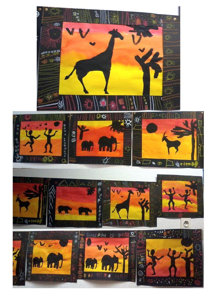 Coucher de soleil dans la savane africaine, classe de MS-GS, école maternelle. Encre, pochoirs, motifs graphiques. Kid'sart, school art, kindergarten, Africa, sunset, graphic patterns.