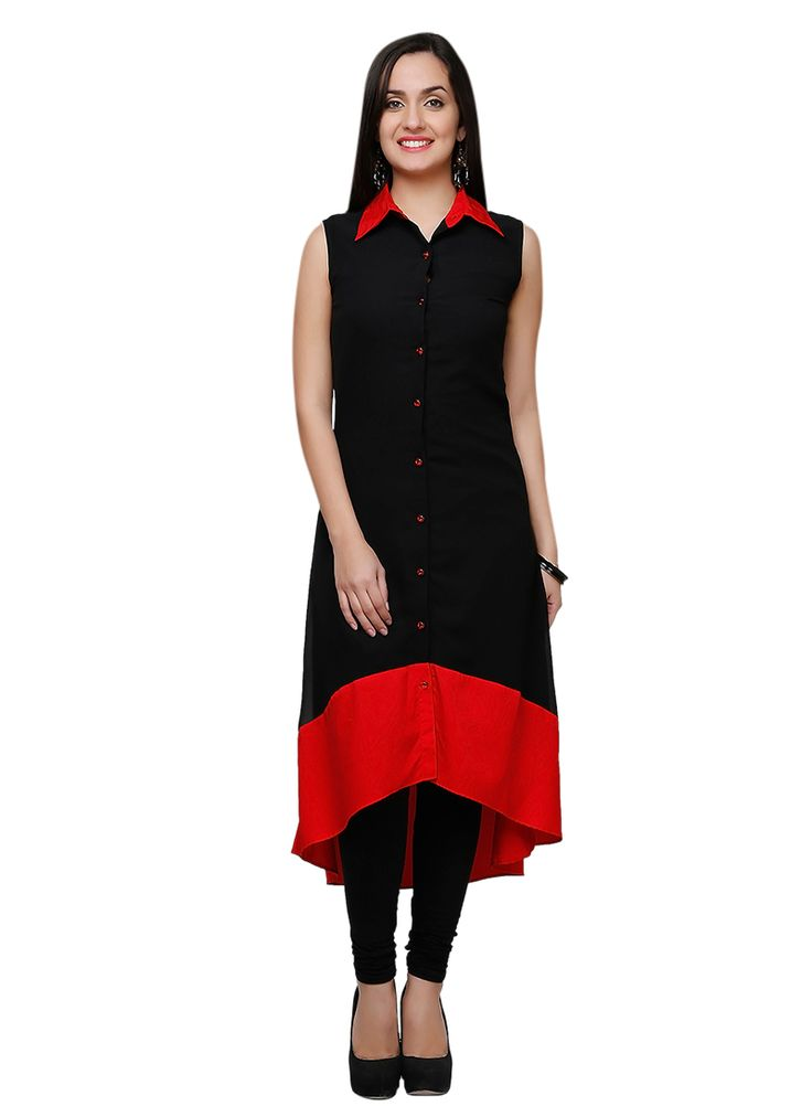 Buy Eavan Black Long Kurti online from the wide collection of long-kurti.  This Black colored long-kurti in Faux Crepe fabric goes well with any occasion. Shop online Designer long-kurti from cbazaar at the lowest price.