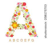 Alphabet Bright Floral - version one - stock vector
