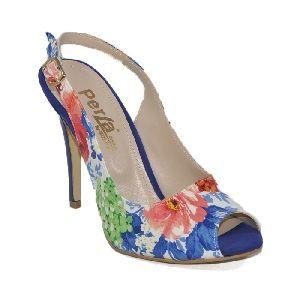 Burnu ve Arkası Açık Bilekten Atkılı Topuklu Beyaz - Mavi Çiçekli Kadın Ayakkabı