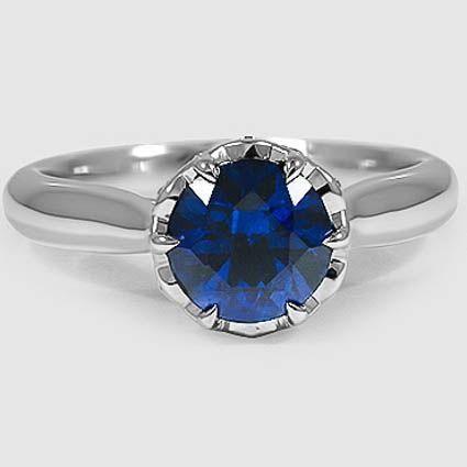 Platin Saphir Pirouette Diamant Ring // Set mit einem 7mm Super Premium …