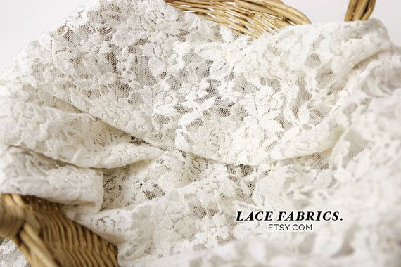 Scalloped Lace Fabric by yard, Off White Scalloped Lace Cotton Fabric, Scallop Lace - 1 Yard style 282