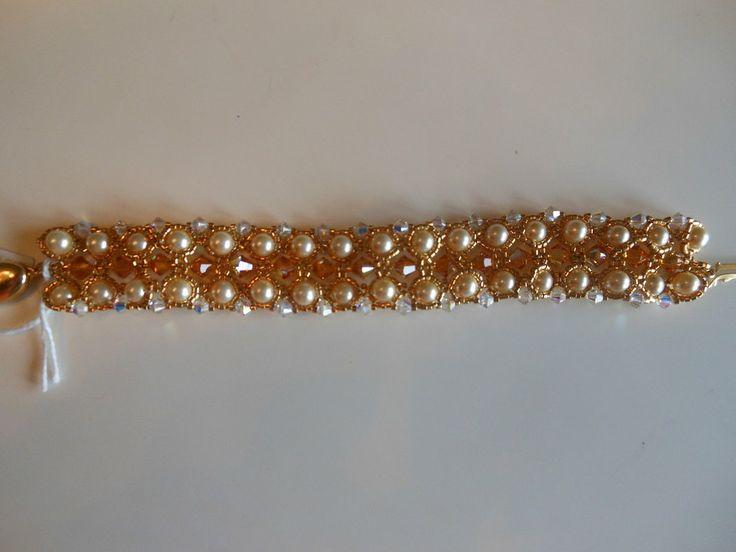 Braccialetto perle e cristalli swarovski 6 mm., by Penso a me, 15,00 € su misshobby.com