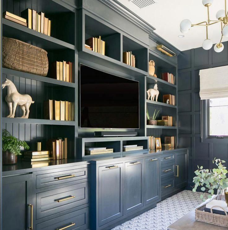 Home Office Built Ins Or Living Room Builtins In Navy Cabinets Diyhomeofficefur Built Builtin Office Built Ins Home Office Built Ins Living Room Built Ins