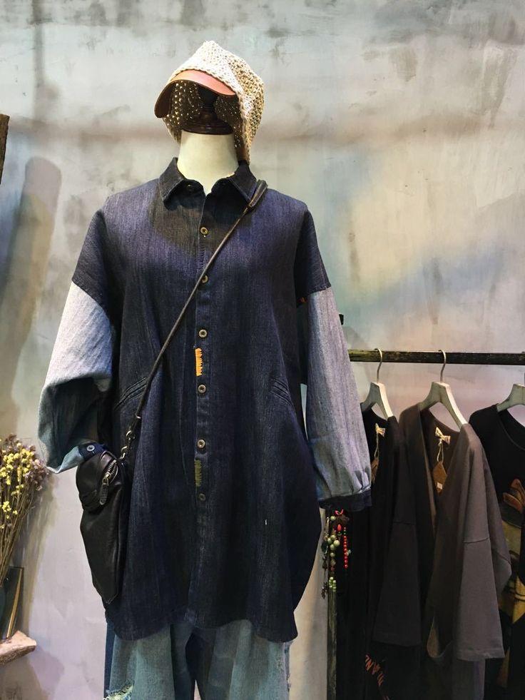Color Matching Single-Breasted Denim Cardigan Large Korean Blouse    #denim #cardigan #Korean #fashion #plussize #loose #blouse #wholesale #retail #amazing