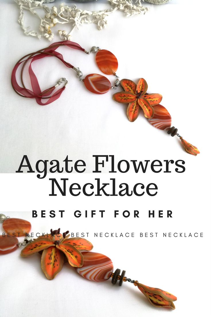 Long Flower Orange Yellow Lily with Real Agate Stones Floral Necklace