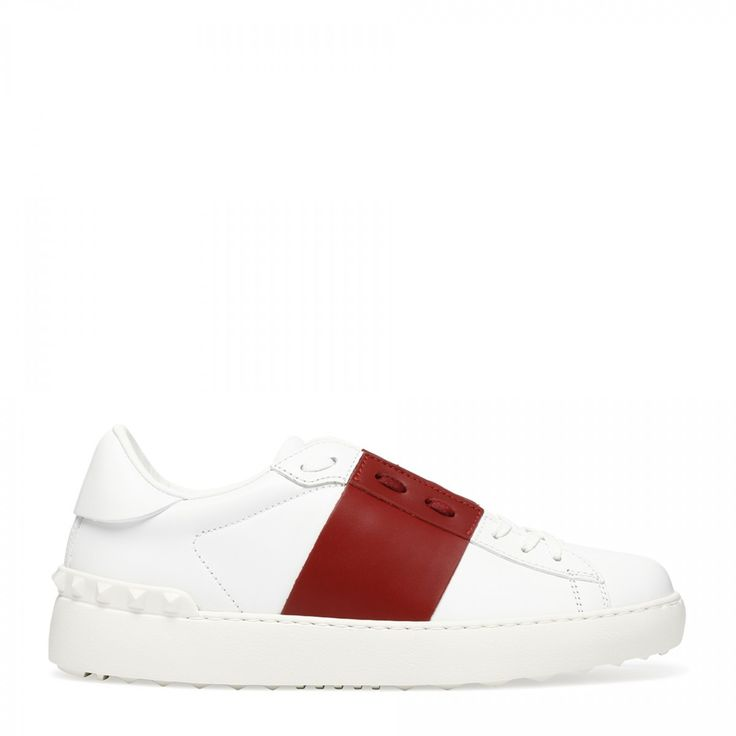 Red and white elastic band sneakers