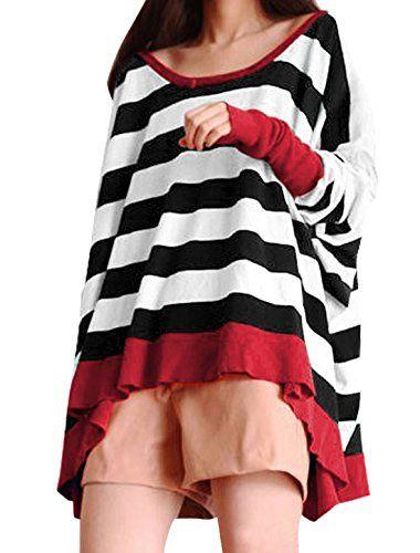 Allegra K Women Boat Neck Batwing Tops Stripe Oversize Plus Size T Shirts Allegra K http://www.amazon.co.uk/dp/B00IZ83VQE/ref=cm_sw_r_pi_dp_bdU.vb0NNHGRY