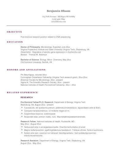 traditional professional resume layout doctoral masters degrees