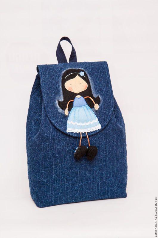 Рюкзаки ручной работы. Джинсовый городской стеганый рюкзак Сестренка, рюкзачок купить. Катя Баланина (Сумки, рюкзаки). Ярмарка Мастеров.
