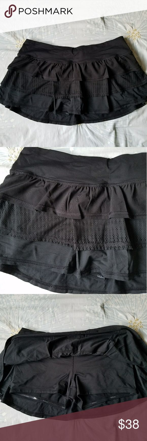 Lululemon Black run skirt Classic, 3 tier fabric, lululemon run skirt!  From some classic lulu days in terms of design. Features 3 different types of mesh on the body and luxtreme inner lining. Gel lining on shorts so they stay down during activities.   Mesh on the inside of the waistband for extra comfort and breathability. lululemon athletica Skirts