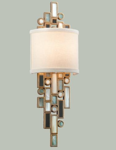 The blue, green and white color scheme of the shells in Corbett Lighting's Dolcetti sconce pick up the blue and green tones in Wythe Blue, Benjamin Moore's Color of the Year, perfectly. www.corbettlighting.comSweets, Sconces Pick, Amazing Sconces, Dolcetti Sconces, Decor Dennings
