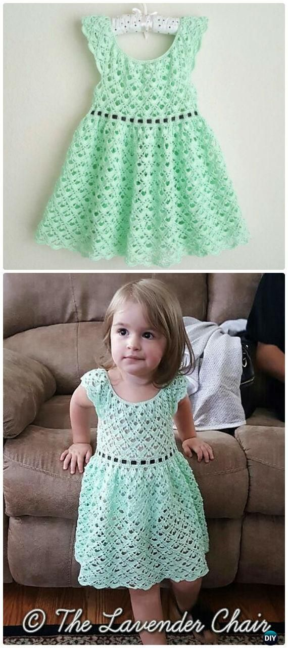 Crochet Gemstone Lace Toddler Dress Free Pattern - Crochet Girls Dress Free Patterns