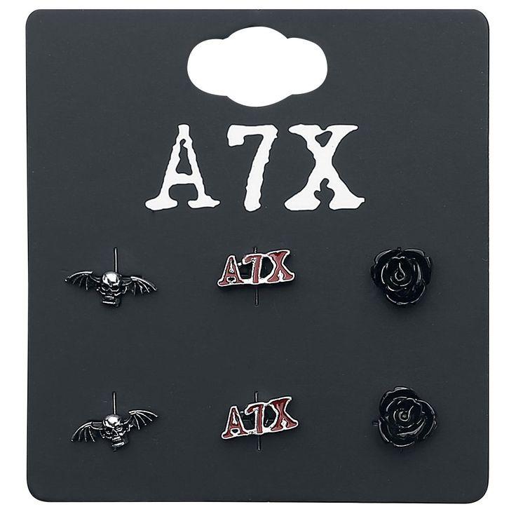 "Set di 3 orecchini ""Skull, Logo & Rose"" degli #AvengedSevenfold."