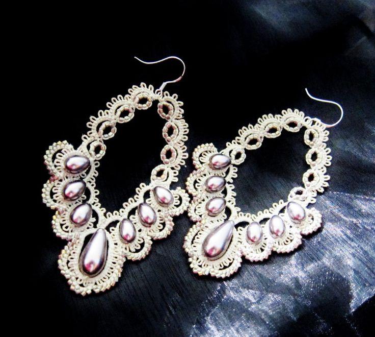 tatting earrings tatted lace pearls teardrops erg097 by BeadBlizz. , via Etsy.