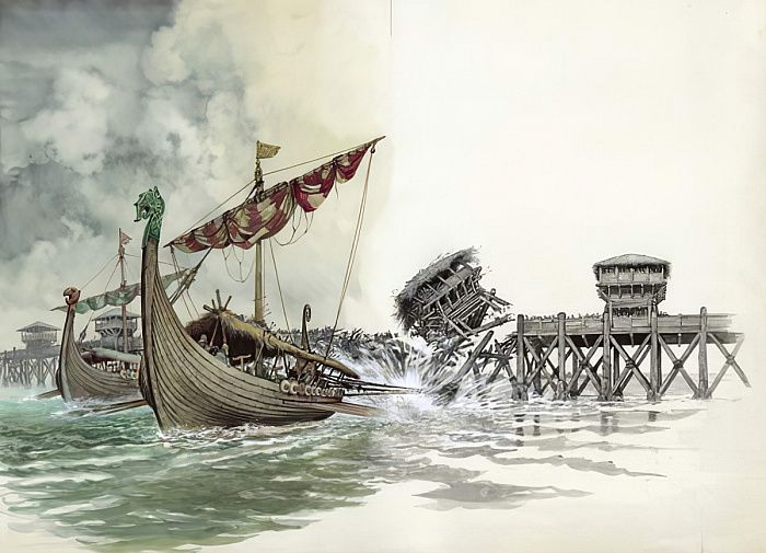 London Bridge being pulled down in the Viking attack led by Olaf The  Norseman in 1014 by Peter Jackson | London bridge, Historical pictures,  History images