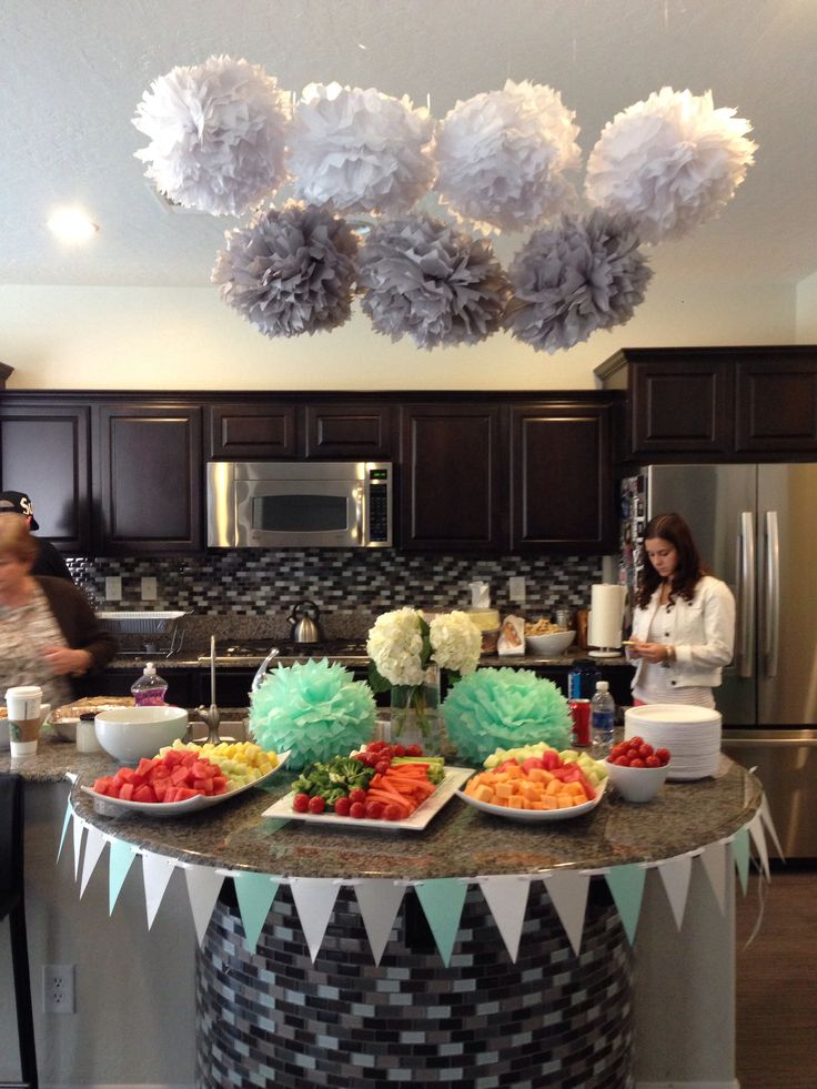 mint green and grey baby shower
