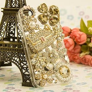 Bling White 3D Swarovski Crystal Fashion bag for iphone 5 case 02