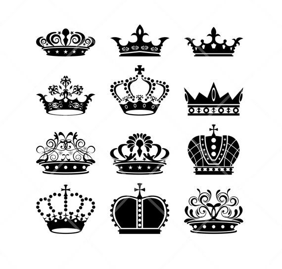 INSTANT DOWNLOAD 12 Royal Vintage Crowns Silhouette Clipart Wedding Invitation Clip Art Scrapbook Art Decor Craft Supply COMMERCIAL Use