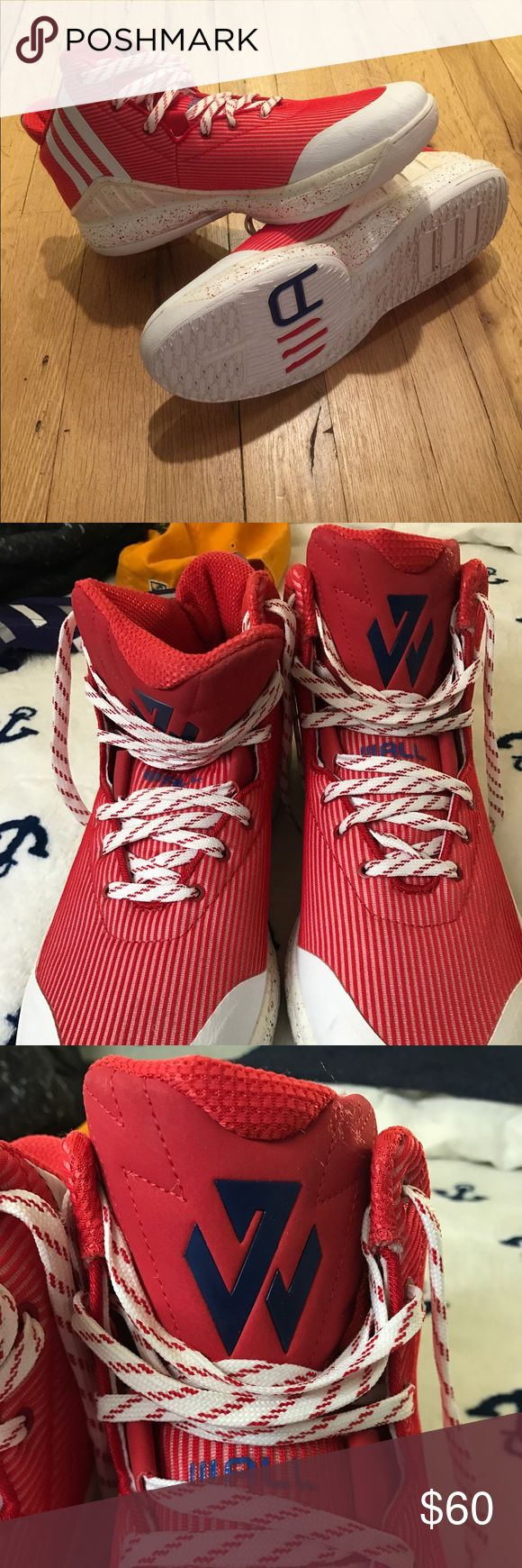 Adidas John Wall Basketball Shoes Red and white version of adidas J Wall shoes. No box or tag but never worn so excellent condition. Size 14. adidas Shoes Sneakers