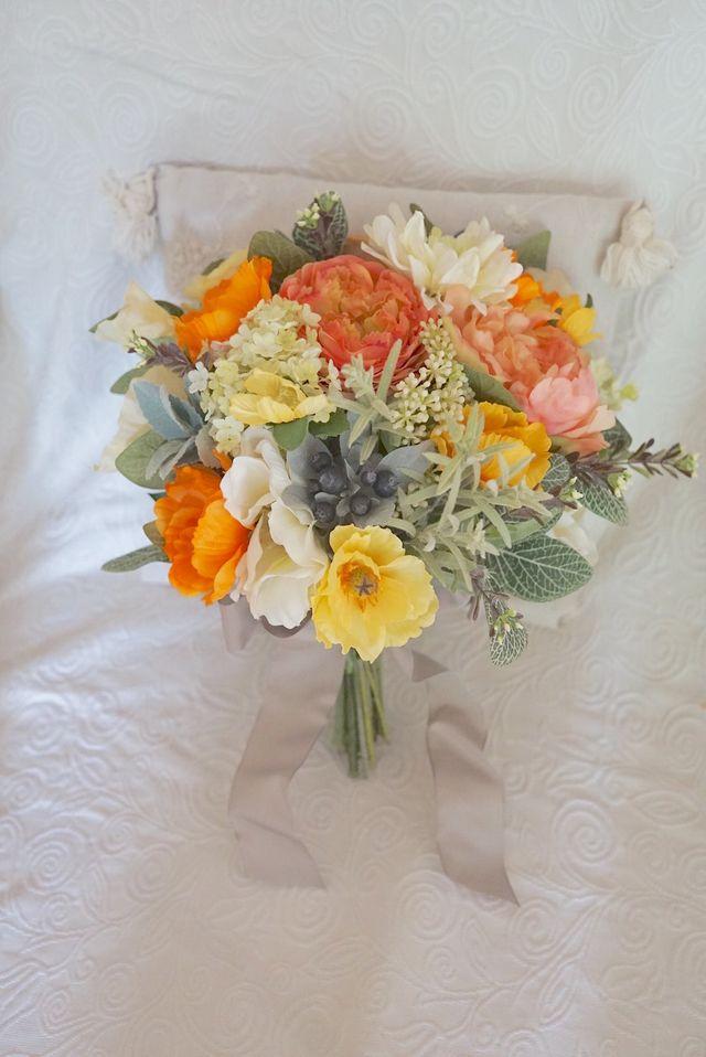 Rustic wedding bouquet オレンジとハーブのクラッチブーケ   ハンドメイドマーケット minne