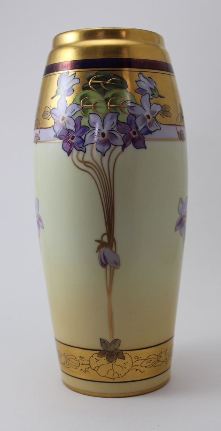 Hand Painted Pickard Violet Supreme Porcelain Vase With Gold Decoration c. 1912-1918