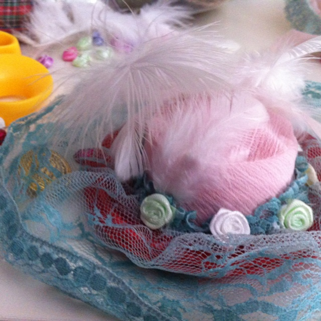Victorian Baby hat with feather and pearl