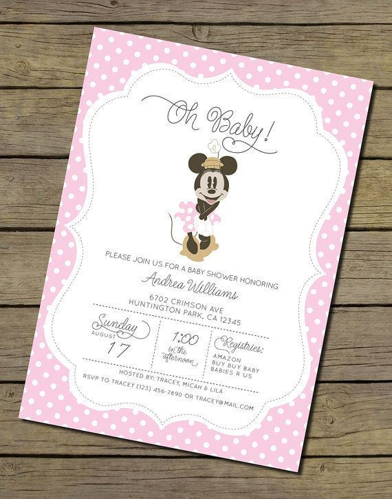 minnie mouse baby shower invitation girl by