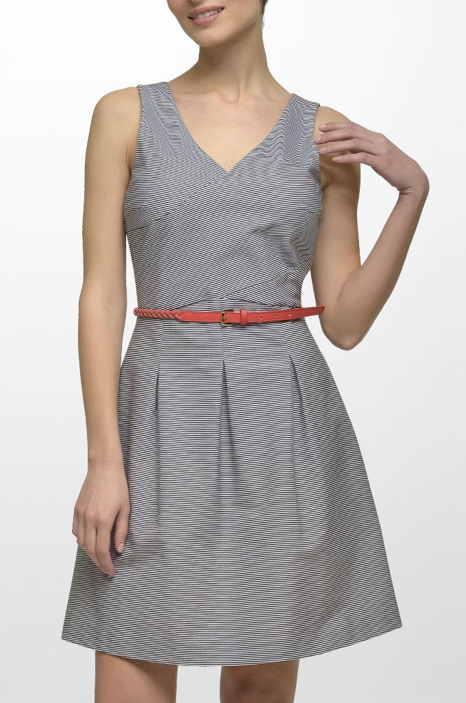 Sarah Lawrence - V neck sleeveless striped dress with pleats, braided leather belt.