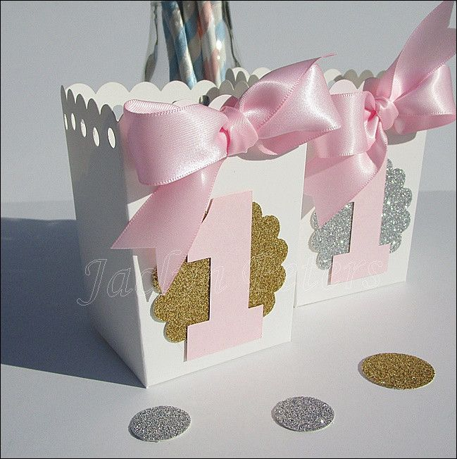 Girls First Birthday Popcorn Favor Boxes