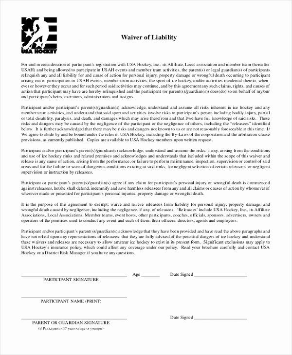 Personal Injury Waiver Form Fresh Free 10 Sample Waiver Of Liability Forms In Resume Template Free Job Application Template Free Birthday Invitation Templates