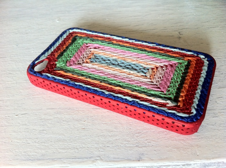 DIY iPhone case- i bought a simple iPhone case and then i sewed the pattern on it