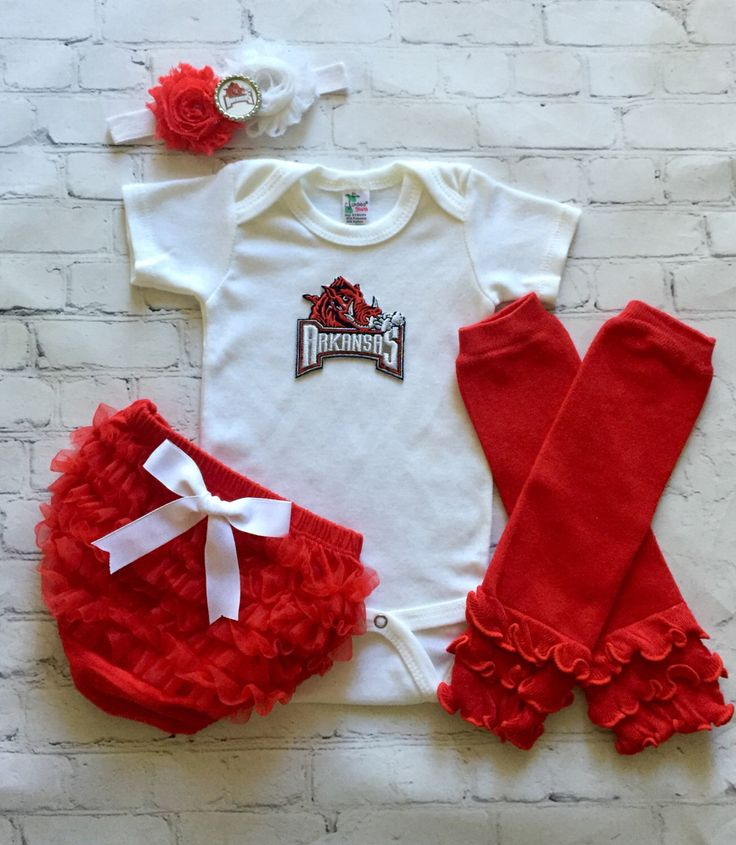 Arkansas Razorbacks baby outfit - University of Arkansas baby girl outfit - U of A baby shirt - U of A baby set by cupcakenstudmuffins on Etsy https://www.etsy.com/listing/273706364/arkansas-razorbacks-baby-outfit