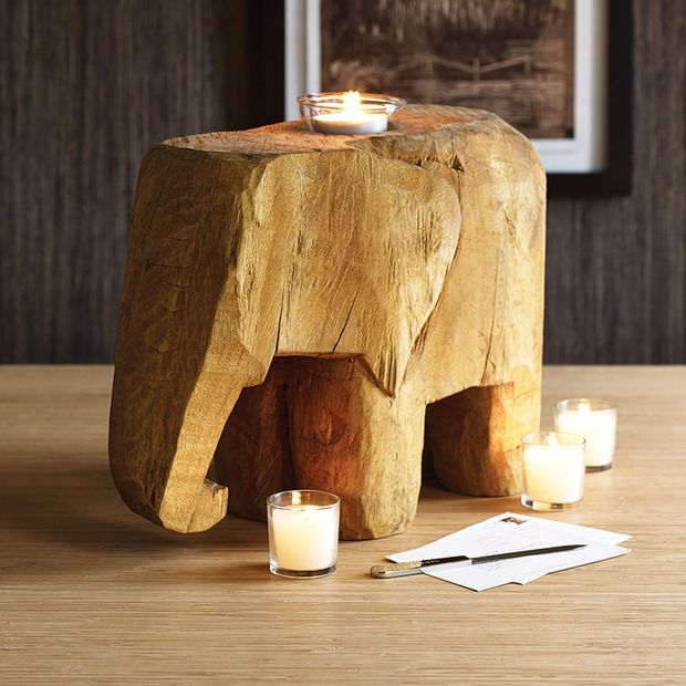 Wild Wood Elephant Accent Candleholder