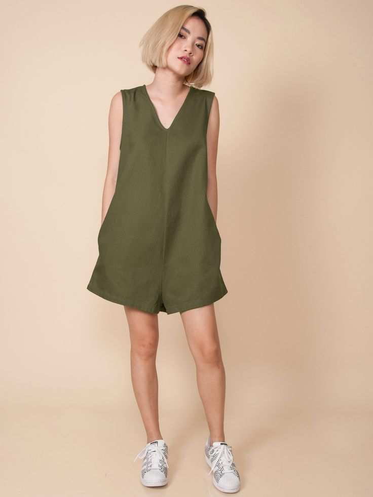 NIKO V-Neck Playsuit (Olive Green)