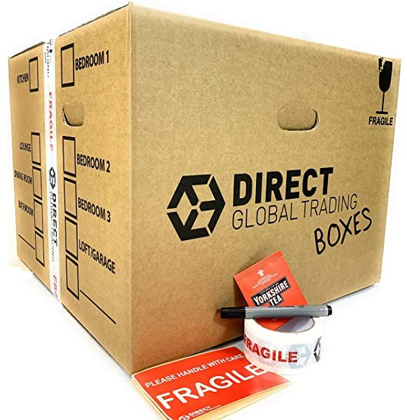 25 Strong Cardboard Storage Packing Moving House Boxes Double Walled With Fragile Tape And Black Marker Pe Cardboard Storage Storage Packing Moving House Boxes