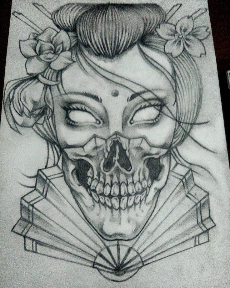 Dark Geisha Skull Blackandwhite version. #drawingo…