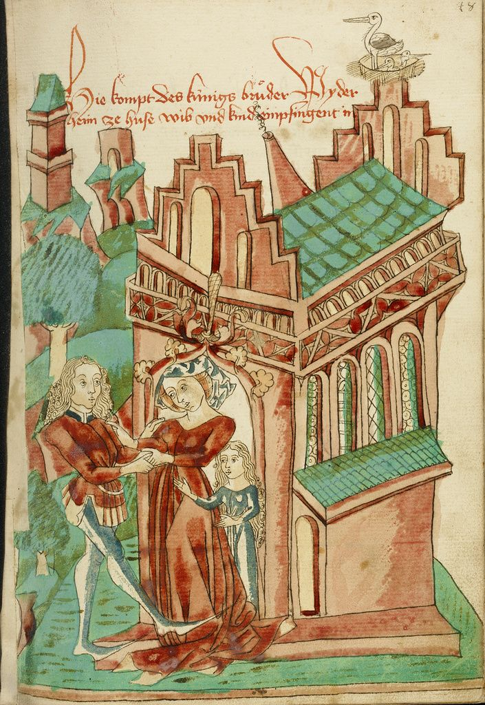 The King's Brother Welcomed by his (own) Wife and Daughter; Follower of Hans Schilling (German, active 1459 - 1467), from the Workshop of Diebold Lauber (German, active 1427 - 1467); Hagenau, Alsace, France (formerly Germany); 1469; Ink, colored washes, and tempera colors on paper; Leaf: 28.6 x 20.3 cm (11 1/4 x 8 in.); Ms. Ludwig XV 9, fol. 48