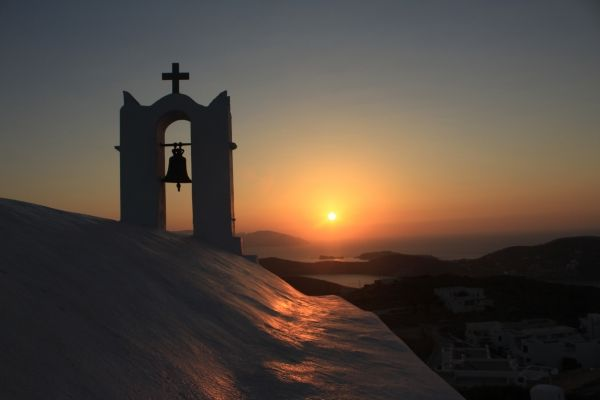 Little chapel at sunset in Ios island