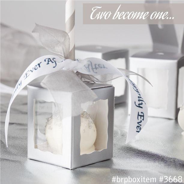 Silver Favor Box for cake pop favors from BRP Box Shop. #weddingfavor #silver…