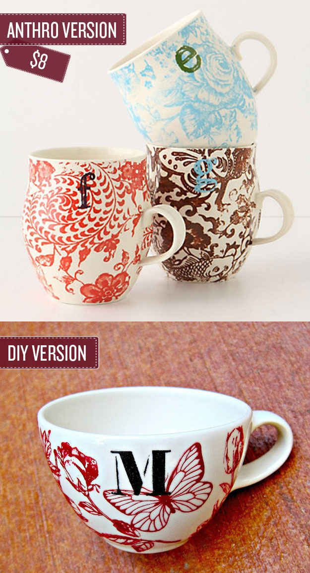 Paint your own monagram mugs. | 38 Anthropologie Hacks