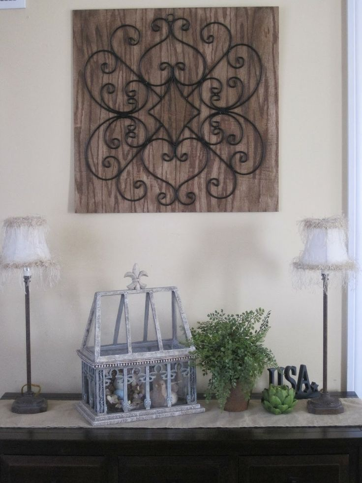 Diy wrought iron scroll work wall art home decor for Wrought iron decorations home