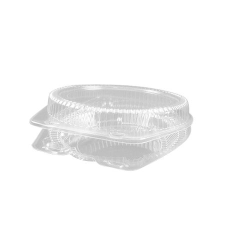 9 inch Clear Round Plastic Hinged Pie Container - 100 per case